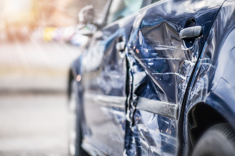 Car crash  on highway.  Automobile accident on street. Damage side or door after collision in Toronto, Ontario